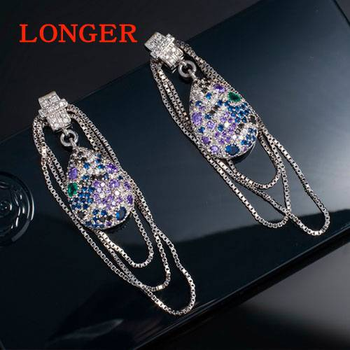 Luxury inlay AAA zircon long earrings earrings for women