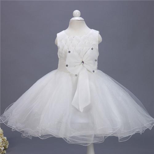Princess dress of Girl Kids Infant white Formal wedding Dress Flower Girl Toddler Elegant Dress Vest