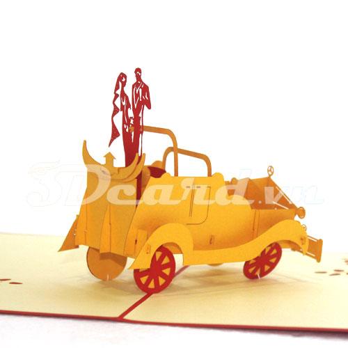 Wedding Car-Kirigami-Origamic-Laser cut-Paper cutting-3D-Pop up-Handmade-Love card