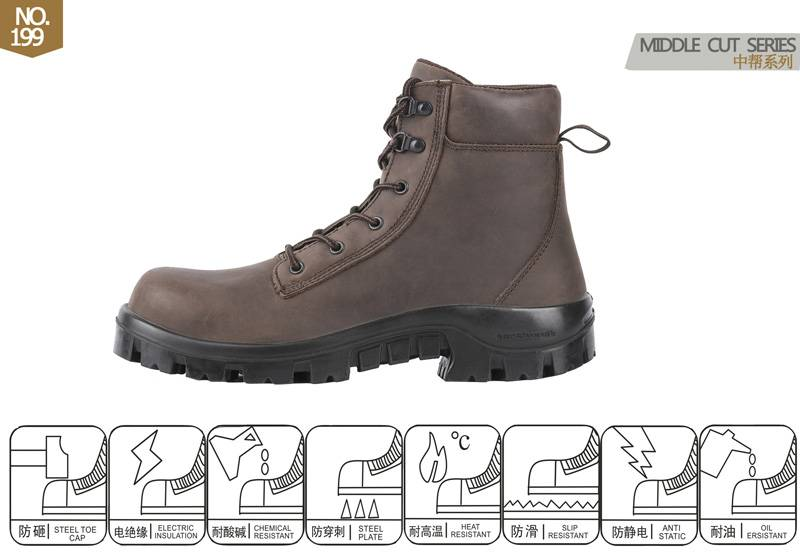 middle cut slip on safety footwear for industrial No.199