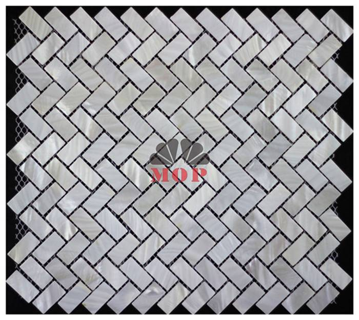 Herringbone mesh back shell mosaic indoor wall