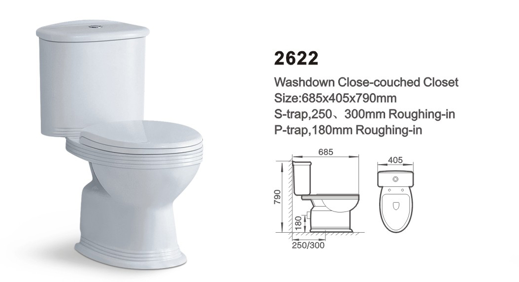 Item NO.2622 washdown two-piece toilet