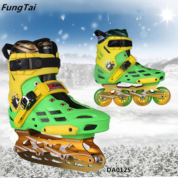 2 in 1 Ice Skate and Inline Skate 4 Wheels Street Slalon Shoes (DA1025-1027)