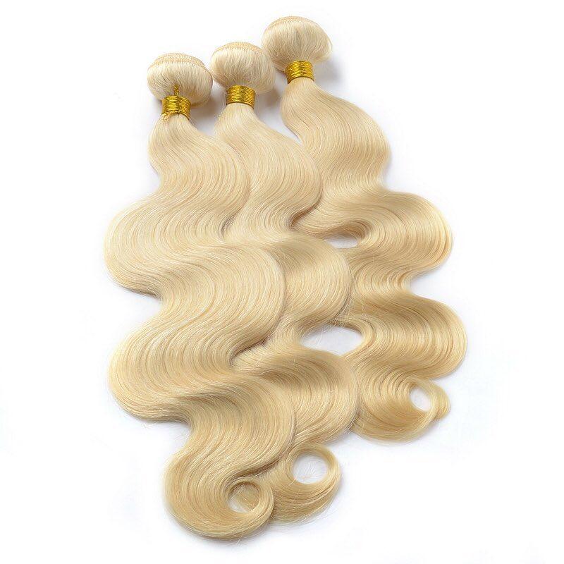Human virgin hair #613 blonde hair body wave hair weave brazilian hair bright color peruvian hair