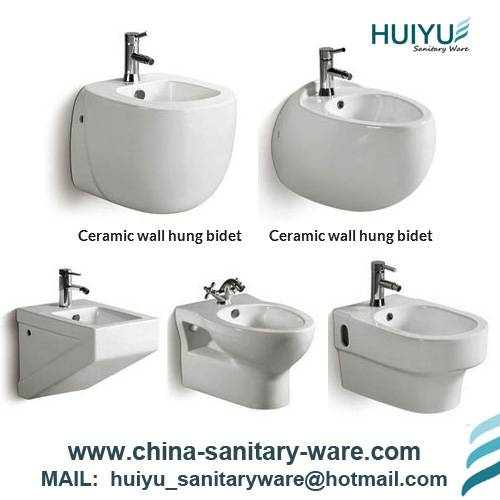Bathroom ceramic wall hung bidet toilets