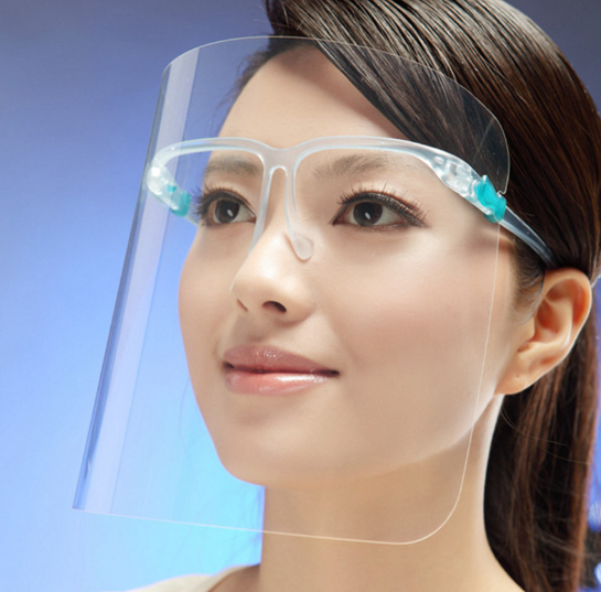 Protective face shield convenient spectacle frame full face protector