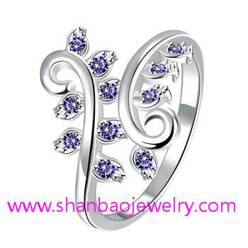 Silver Plated Costume Fashion Zircon Jewelry Woman Rings
