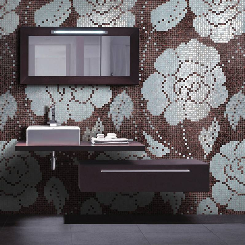 Winter Flowers Oro Nero JY-P-W08 Bisazza Flower Pattern Silver and Brown Glass Mosaic Tile