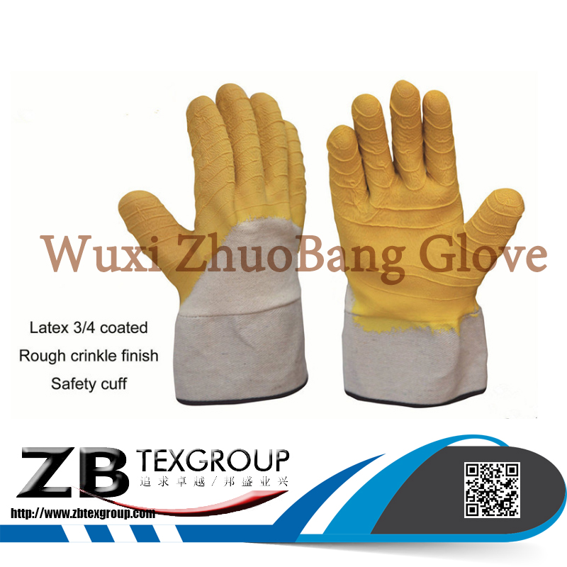 CE certification Heavy Duty Jersey Liner wrinkle Latex 3/4 Coated rubber Safety Cuff Work Glove