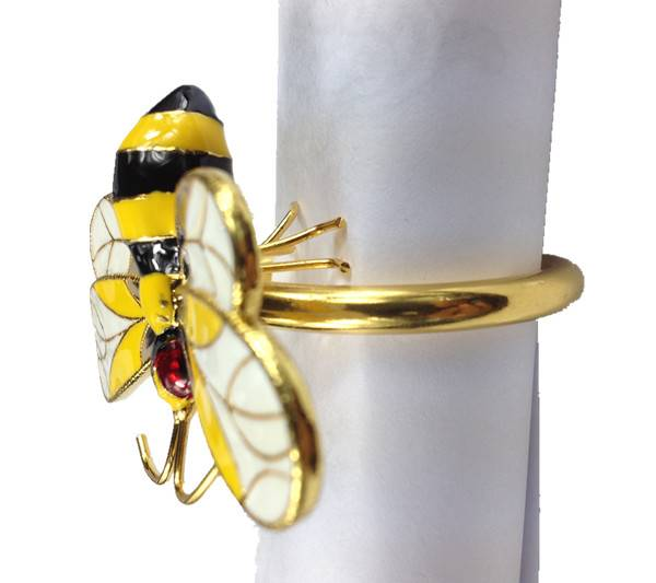 2013 golden silver plated bee style napkin rings