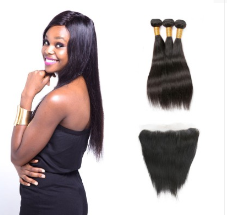 [8A]3 Bundles Brazilian Straight Virgin Hair with Frontal