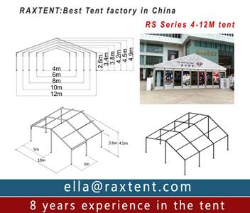 20m x 50m advertising tent with roof lining and glass window