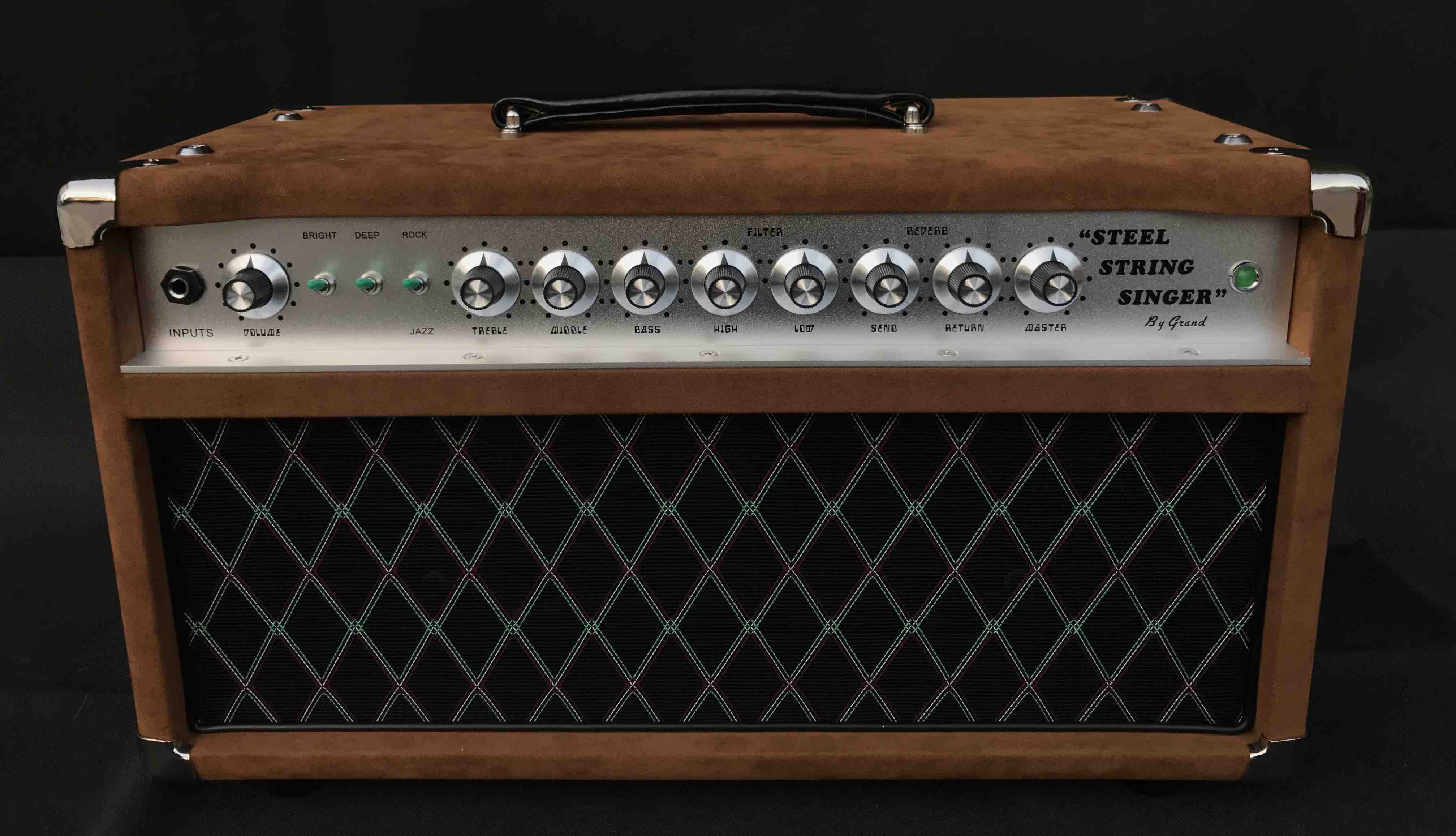Professional Tube Guitar AMP Head 100W Dumble Tone SSS Steel String Singer Valve Amplifier in Brown