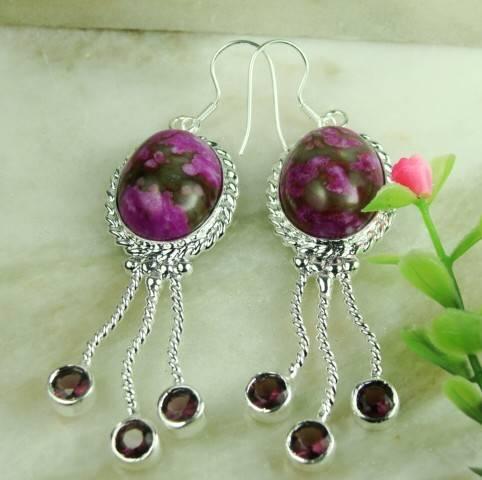 925 Sterling Silver Charoite Gemstone earrings