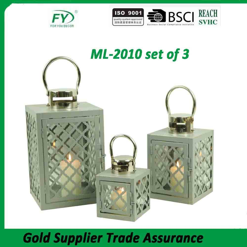 Popular good quality modern indoor and outdoor decoration metal lantern with stainless steel top