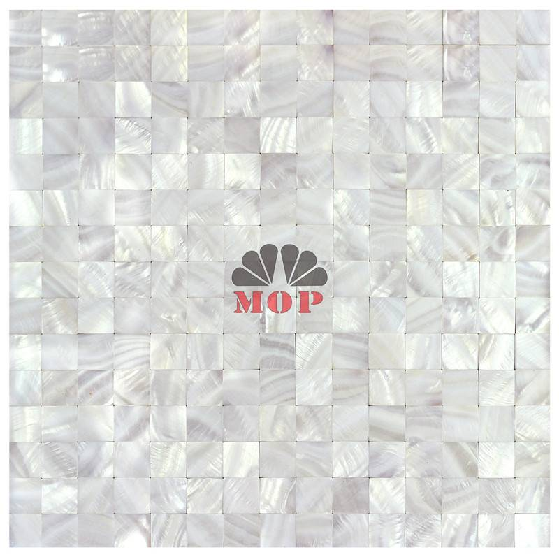 mesh pure white shell panel mirror tile