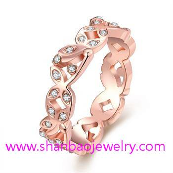 Shanbao Jewelry Imitation Gold Plated Costume Fashion Zircon Jewelry Rings