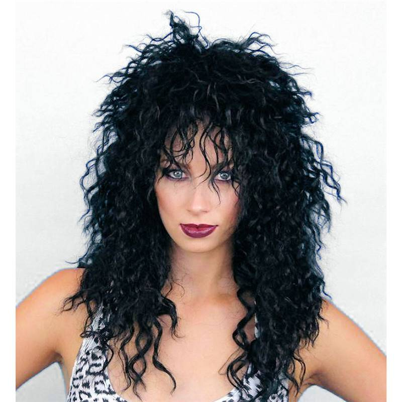 80s Rocker Cher Shaggy Crimped Black Wig