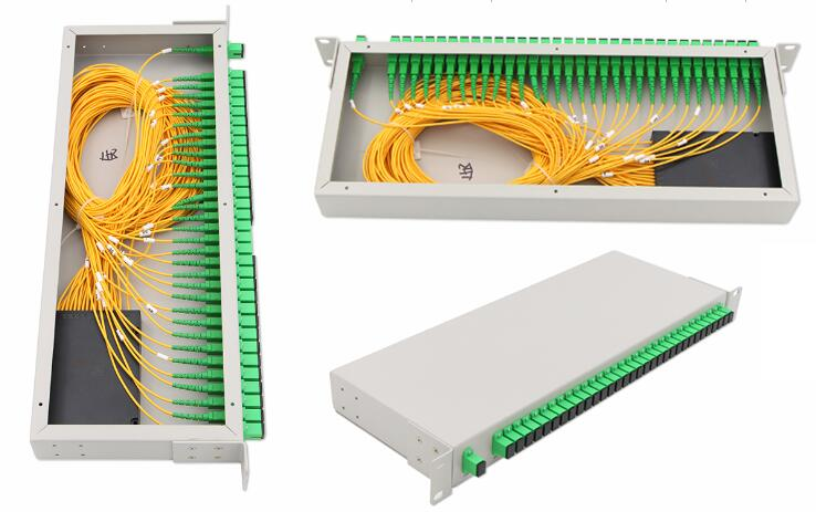 """PON network 19"""" rack mount sc apc 1x32 plc splitter equipped with optical adapter"""