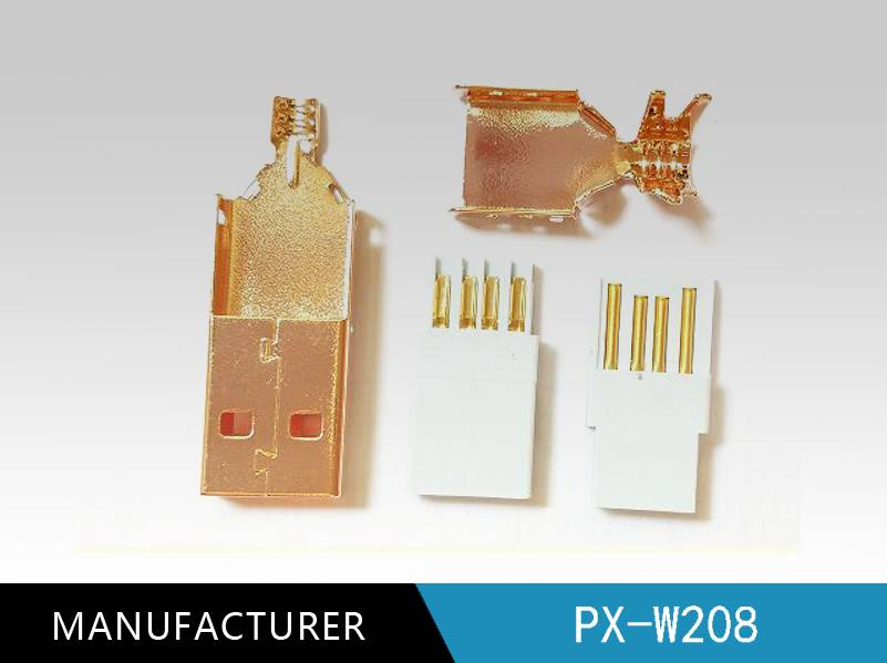 3u gold plated Usb2.0 a Male to B Male Plug Gold Plated Connector Case Weld Foot & Terminal