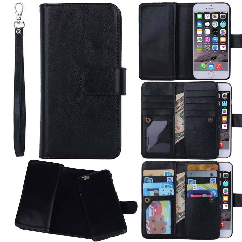 Flip Wallet Leather Case Detachable Cover & 9 ID Card Slots for iPhone 6 6G 6S Plus 5 IP6C107