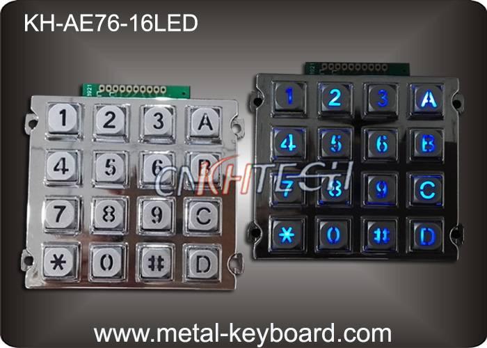 KH-AE76-16LED 16 Keys Backlit Vandal Proof Metal Numeric Access Kiosk Keypad