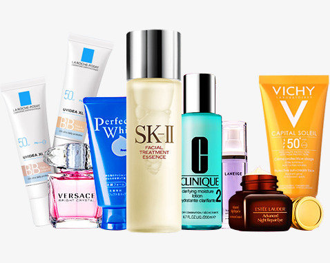 Clarins, Estee lauder, Shiseido, Revlon, Rimmel, Maybelline, Max Factor,