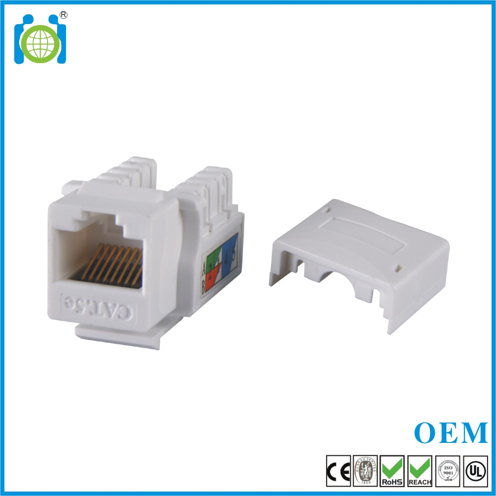 RJ45 8P8C Cat5e 110 IDC Keystone jack in white