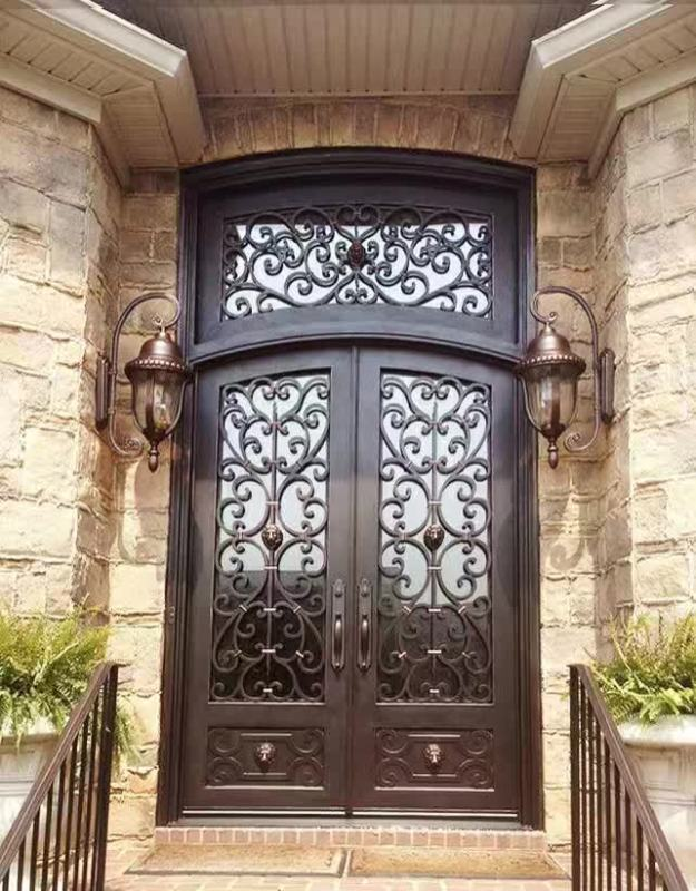 China Xiamen Cutomized Design Wrought Iron Glass Front Doors(JDL-1002)