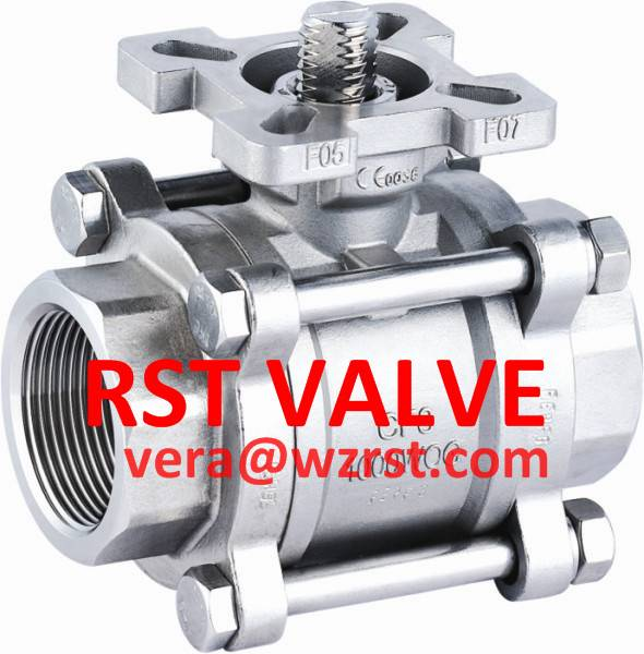 NPT/BSPT/BSPP 3PC TYPE Threaded Ball Valve With ISO5211 Mounting Pad,WCB/CF8/CF8M, 1000WOG