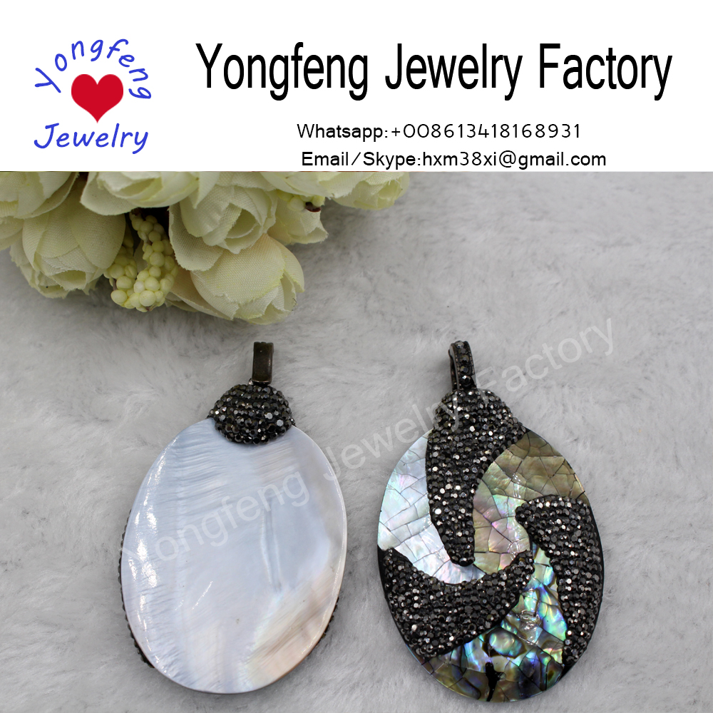 wholesale fashion jewelry oval shell rhinestone pendant