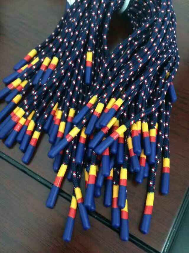 Hot-sale binary color silicone head shoelace with bule and yellow