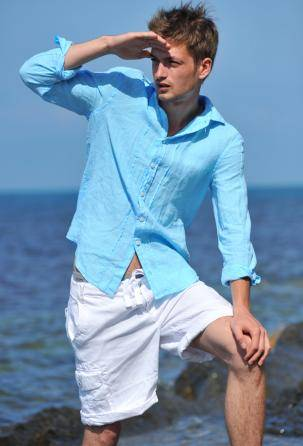 Wholesale Men's designers shirts 100% linen. Made in Italy