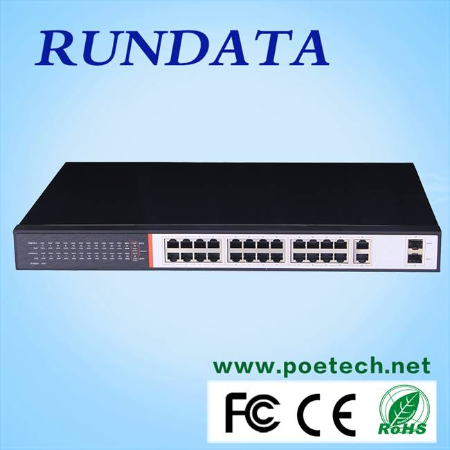 2015 hot sale Rundata 400W 24 port switch for IP products
