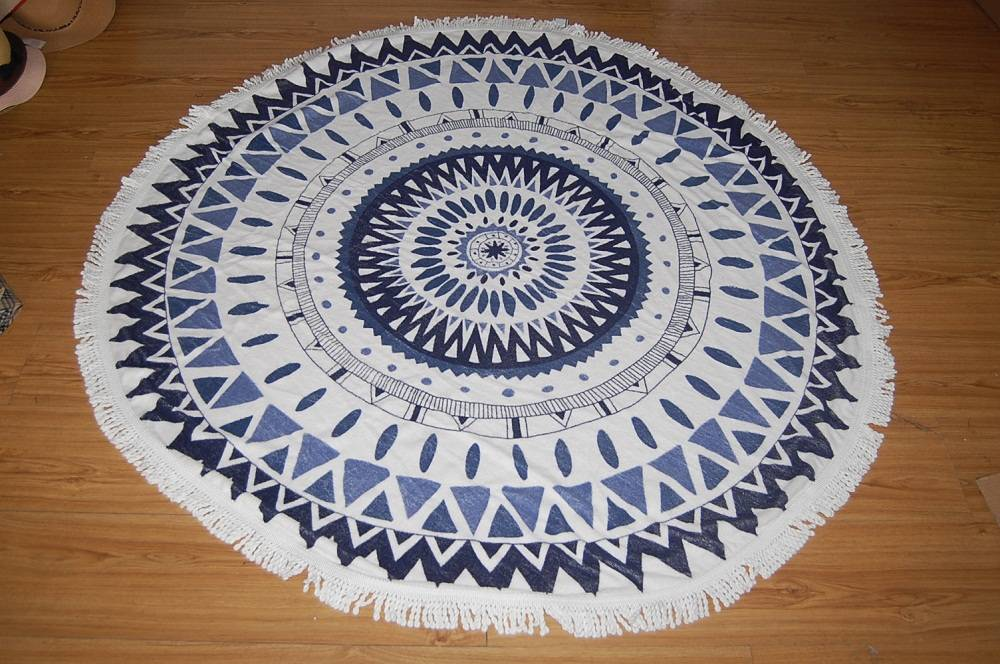 100% Cotton Reactive Printing Round Beach Towel With Tassels