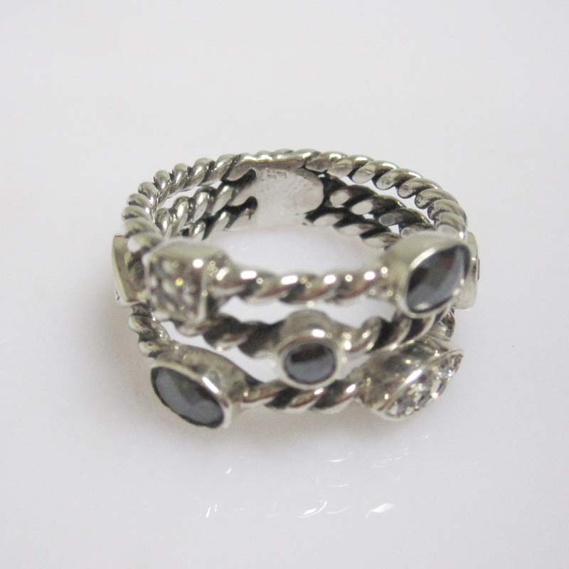 Sterling Silver Jewelry Hematite Three-Row Ring(R-196)