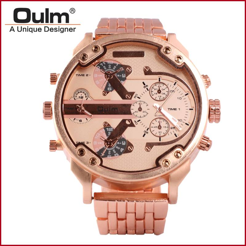 Oulm design dual time zone business men watch
