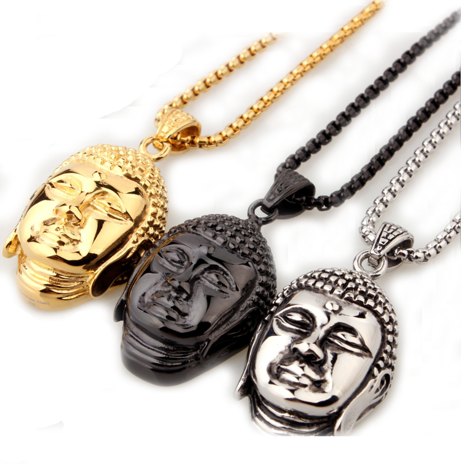 Mens New Jewelry Religious Style 316L Stainless Steel Buddha Pendant with Box Necklace