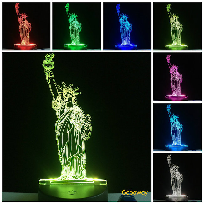 New 3D led indoor lamps New York statue of liberty for travel gift touch lamps
