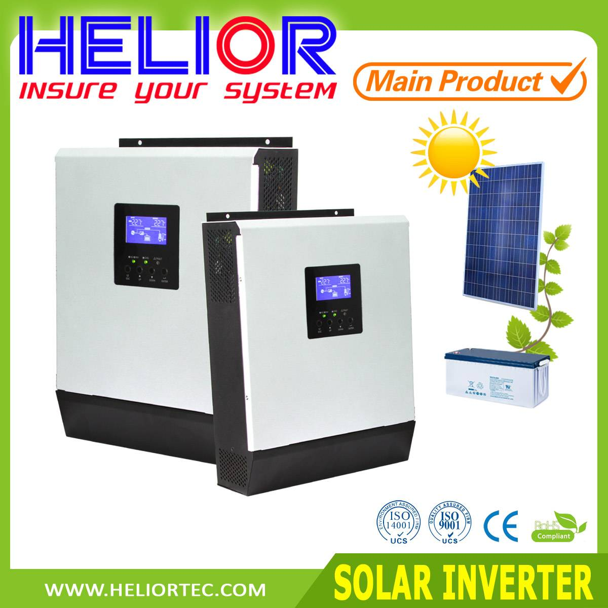 Pure sine wave off grid solar inverter 4KVA, inbuilt solar charge controller and ac battery charger