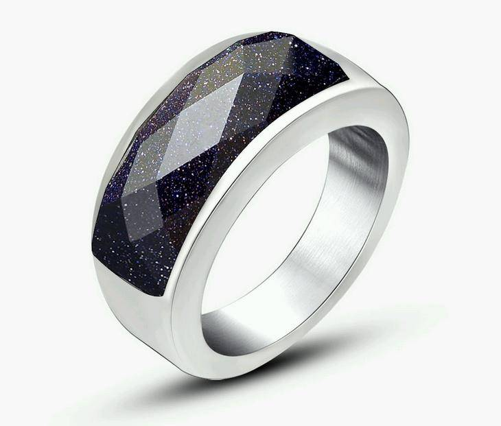 Wholesale Stainless Steel Ring with Black Stone