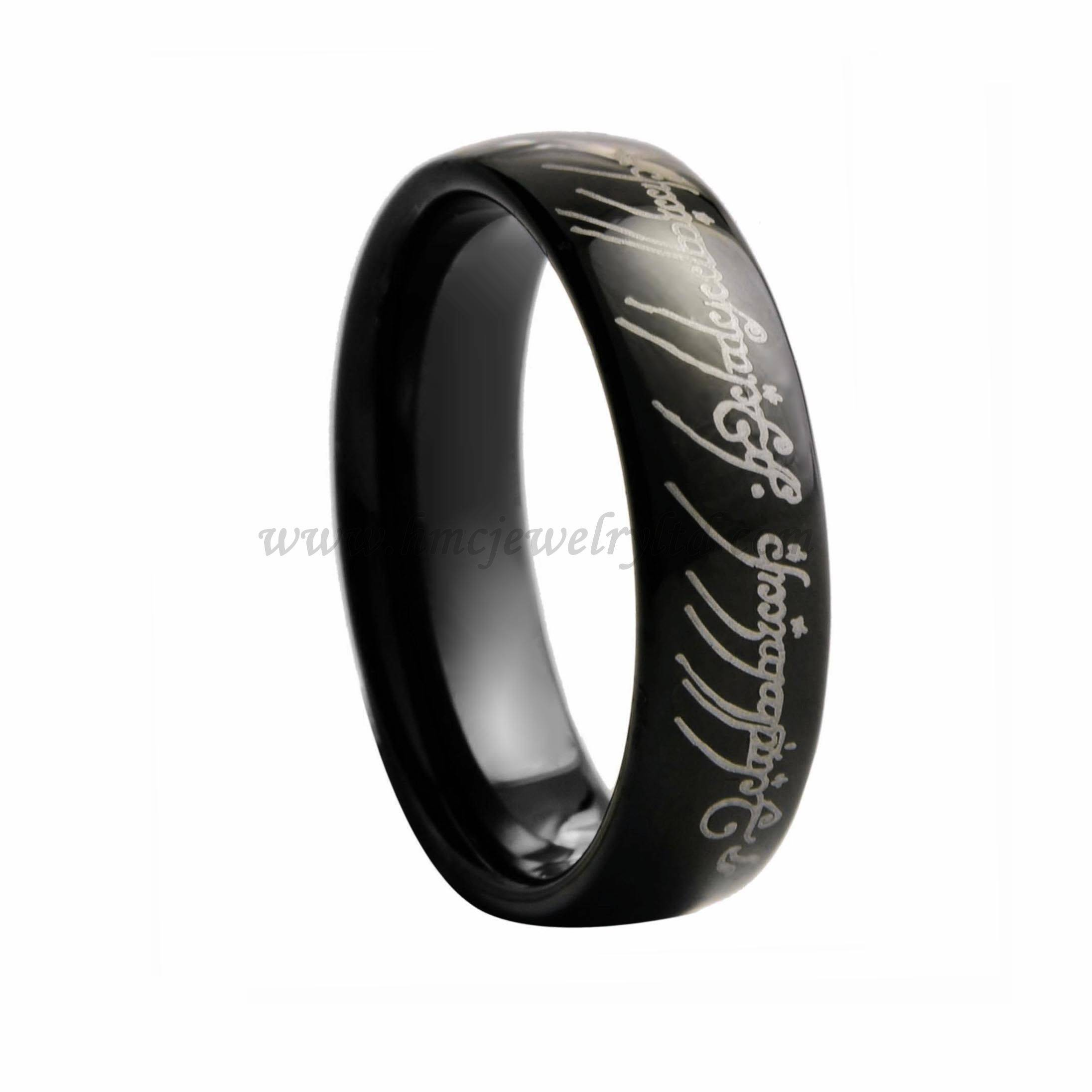 Black Tungsten Carbide Ring, Lord Of The Rings Engagement Ring