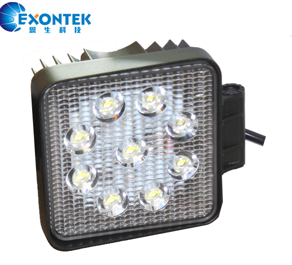 Led work lamp headlight 27W 4WD motor headlamp Square for JEEP Tractor agricultural machinery truck