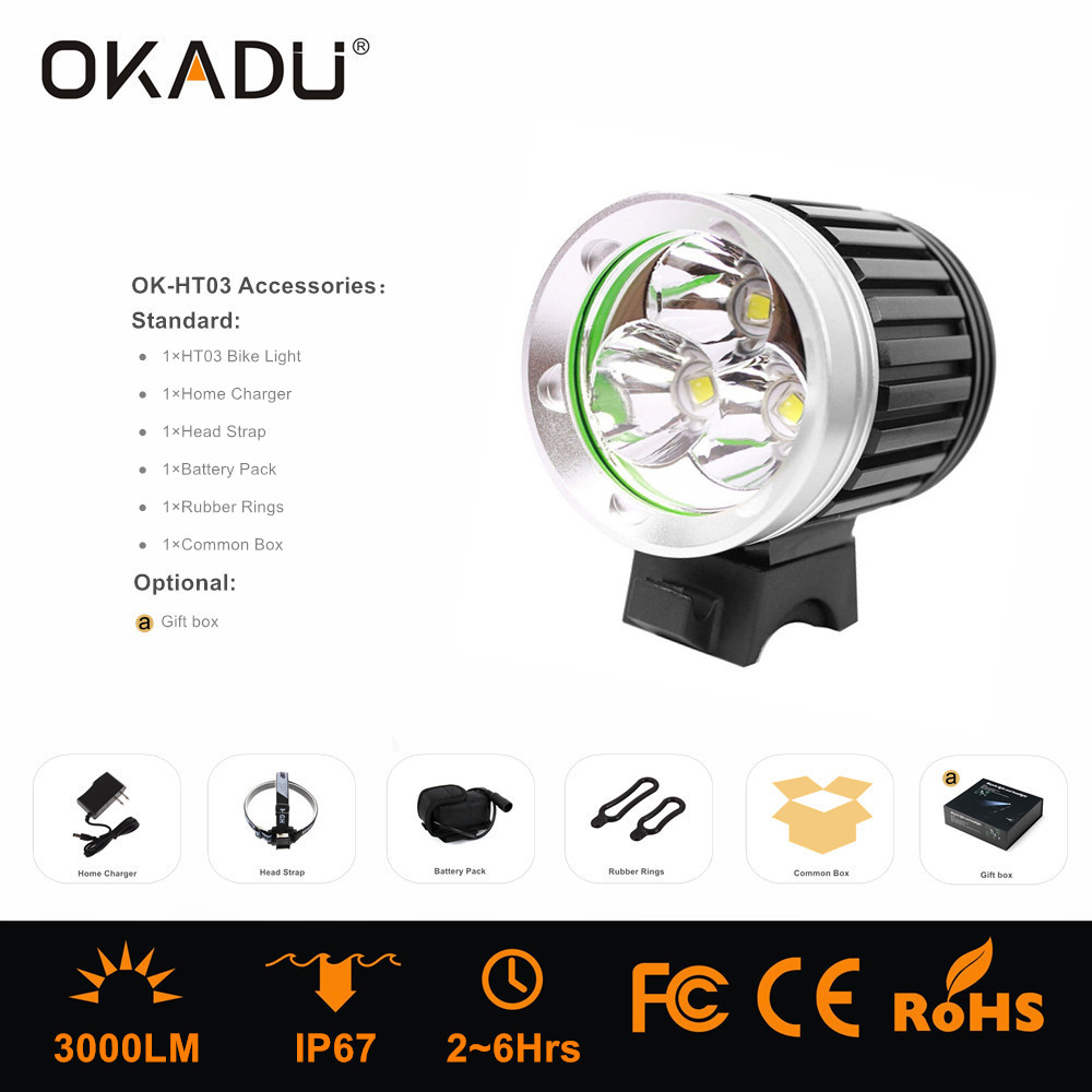 OKADU HT03 High Power Waterproof Cree XM-L T6 LED Head Lights 3000Lumens LED Headlamp