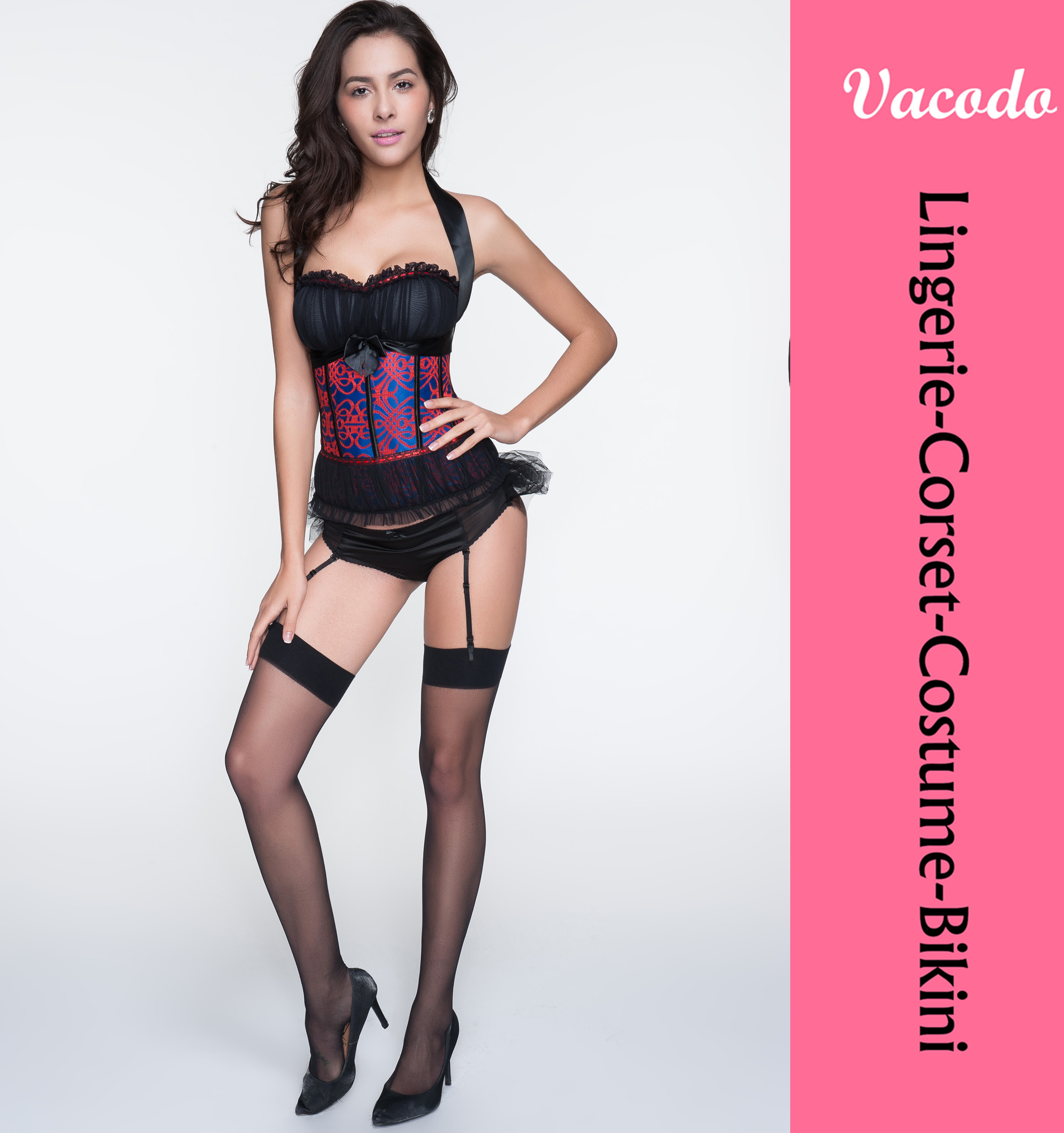 Vacodo 8123 Satin Embroidery Pattern Lace Halter Corset Bustier Corsets