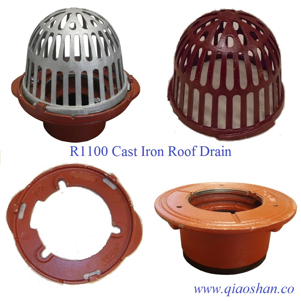 "R1100 series Cast Iron Roof Drain with A1-C3 Clamp and A1 Body with 2""-6"" No-Hub and Push On Outlet"