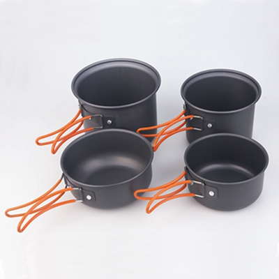 Outdoor aluminum hard-anodized cook set