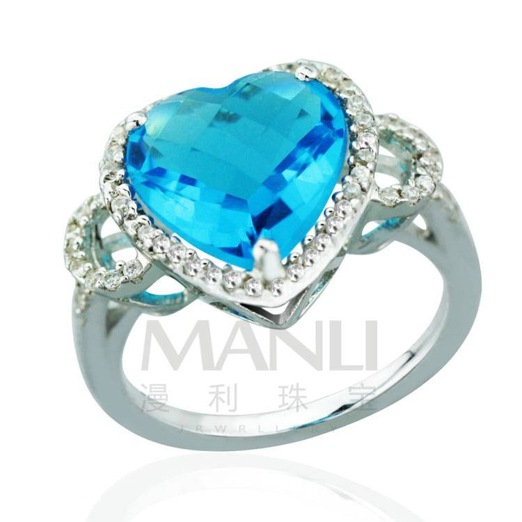 2015 Manli Fashion Best selling Female natural sapphire sky silver heart-shaped Ring