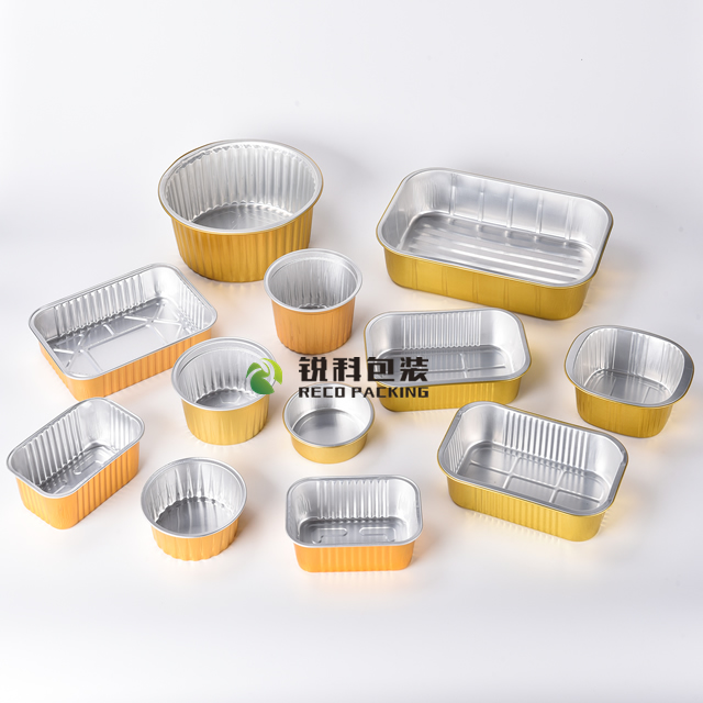 Lacquered Gold Aluminum Foil Food Containers