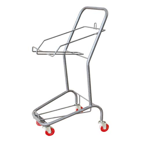 2 Tiers Plastic Basket Trolley With Zinc And Epoxy